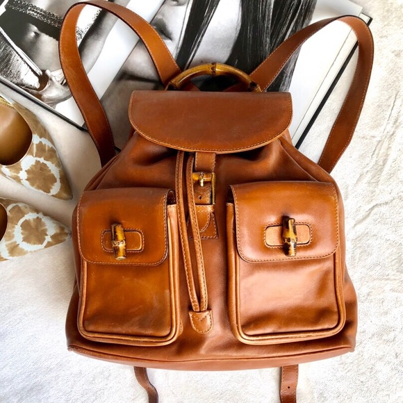 fc77fcde52e Gucci Handbags - Gucci Bamboo Leather Backpack
